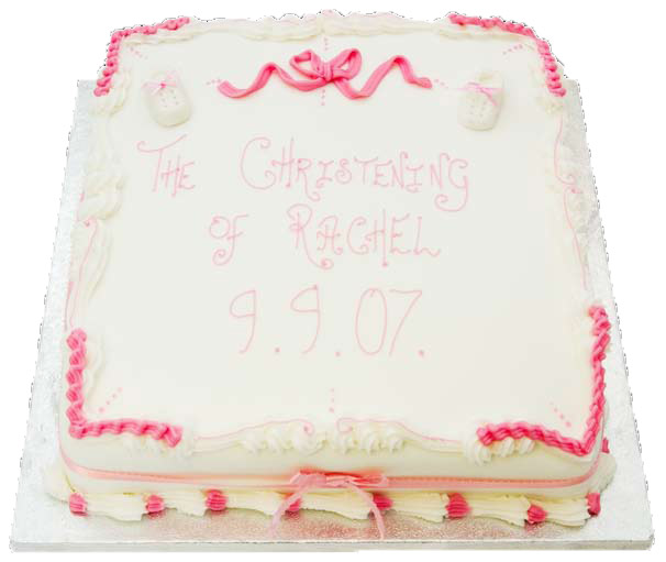 booties writing baby shower christening cakes